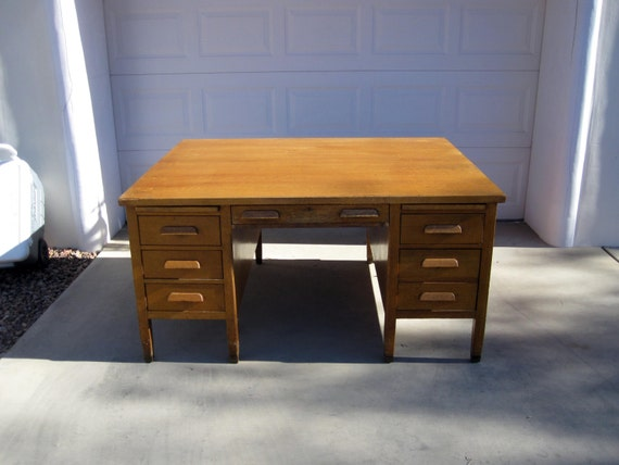 Like this item? - Antique Art And Crafts Mission Style Oak Partners Desk