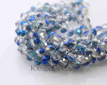 """Dark Blue Gray Half Plated Aurora Borealis (AB) Color Faceted crystal roundel beads 4x6 mm 15"""" strand"""