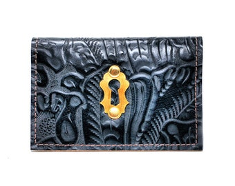 Simple Leather Wallet - Leather Fold Card Wallet or Business Card Holder with Antique Hardware
