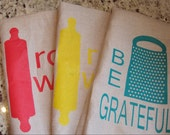 kitchen towel 100% linen tea towel be grateful