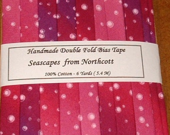 Handmade Double Fold Bias Tape - Seascape from Northcott - 6 Yards