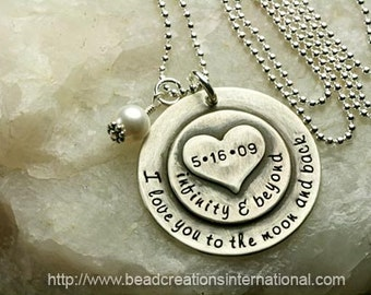Hand Stamped Necklace - I Love You To The Moon and Back Infinity & Beyond w/ Date and Heart Stacked on Top - Antique Look