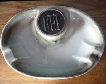 Mid Century Roseville Hyde Park Ashtray Model 1950, Green and Brown, Monogrammed W or M