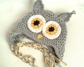 ON SALE Baby Owl Hat, Crochet Baby Owl Hat, Baby Animal Hat, Crochet Baby Hat