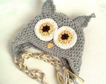 Baby Owl Hat, Crochet Baby Owl Hat, Baby Animal Hat, Crochet Baby Hat