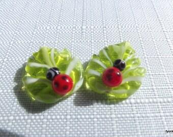 2 PCS leaf and ladybug  21x17 mm Handmade Lampwork glass beads