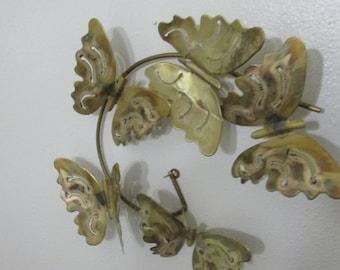 Brass Butterflies Sculpture Wall Hanging