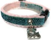 Glitter Cat Collar Breakaway Turquoise with Kitty Charm