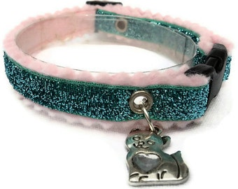 Glitter Cat Collar Breakaway Turquoise with Kitty Charm