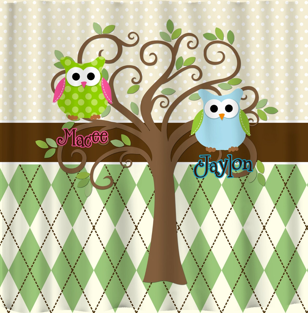 Mod Tree Owl Shower Curtain Mini Dots Argyle Bg By Redbeauty