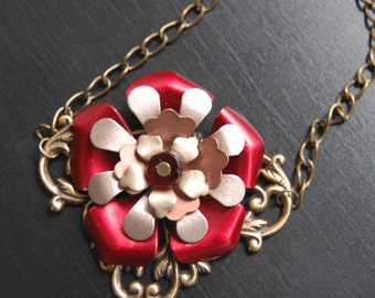 Elegance in Red-Vintage Copper and Brass Flower Necklace