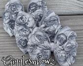 3 Gray Satin Bows- SiLVeR/GReY Satin ROSeTTe RiBBoN BoWS- 4 inch Bows- Headband Supplies- Bows for Hair- Fabric Bows- Diy Supplies