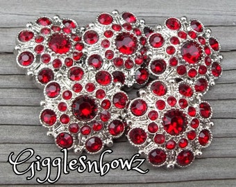 NEW Set of FiVE LiMiTED EDITION ReD Acrylic Rhinestone Buttons 27mm