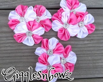 HoT PiNK and WHiTE Embellished Satin CLuSTeR Flowers- SeT of 3 NEW  2.5-3 inch Size