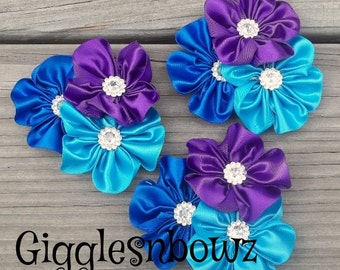 Satin Ribbon Flowers- 3pc set RoYAL BLUE, PuRPLE, TuRQUOiSE- 2.5-3 inch Diy Supplies, Headband Flowers, Fabric Flowers, Rhinestone Flowers