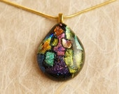 Handmade Dichroic Fused Glass Gold Pendant Necklace