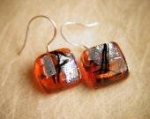 Handmade Dichroic Fused Glass Earrings Sterling Silver .925