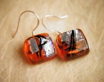 Handmade Dichroic Fused Glass Earrings Sterling Silver .925