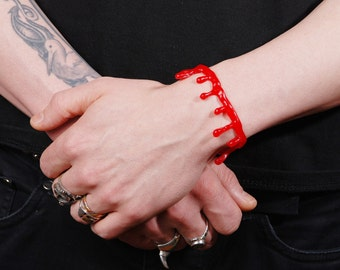 Bright Red Bloody Drip  Bracelet -  - 2 Pc Set