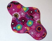 Menstrual Cloth Mama Cloth Mama Pad Reusable Sanitary Pad with PUL lining hot pink with mod flower pattern - size S to M