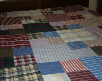 Twin Quilt - Made from Men's Shirts - CUSTOM Made for You