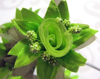 Organza and Fabric Star Flower Embellishments in Green