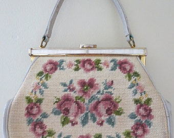 50s Pastel Flower Needle Point Purse