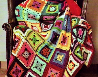 INSTANT DOWNLOAD PDF Vintage Crochet Pattern  Flamboyant Granny Squares Afghan Throw Blanket Retro
