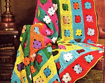 INSTANT DOWNLOAD PDF Vintage Crochet Pattern Flower Afghan Throw Blanket Retro