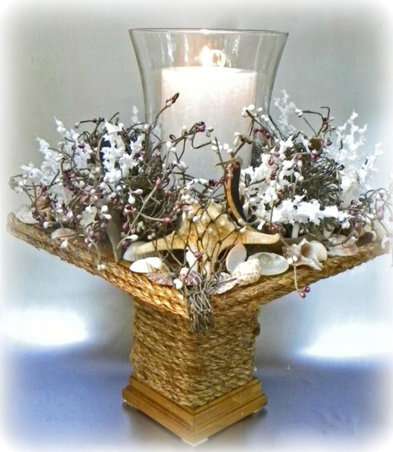 Nautical Decor Centerpieces: Items Similar To Nautical Beach Hurricane Candle Holder