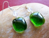 Green fused glass dangle handmade earrings with moonstone bead and wire wrapped