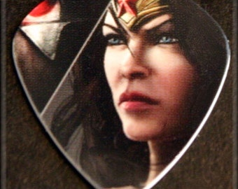 Limited Edition-Rare- Injustice League Wonder Woman-Guitar Pick-Upcycled Gift Card-Thin Guitar Pick