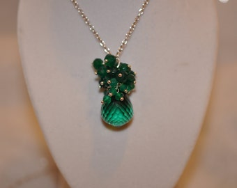 Green Amethyst, Green Emerald and Green Onyx Necklace