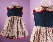 Red Denim Floral Baby Girls Cotton Dress - AGE 1 YEAR