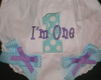 Custom Birthday Bloomers Monogram Diaper Cover Personalized