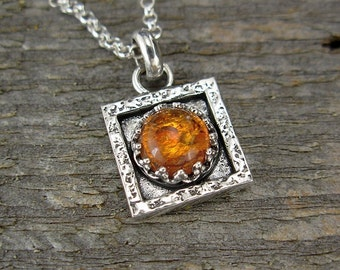 Amber Necklace - Tiny Square Amber Pendant on Chain - Sterling Silver Gemstone Pendant Necklace, 16 Inch, 18 Inch, 20 Inch, or 22 Inches