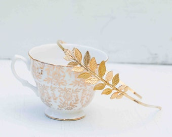 Leaf Branch Headband, Gold Leaf, Bridal Headpiece, Fern Leaf Tiara, Grecian, Romantic Woodland, Garden Wedding, Bridesmaid Gift