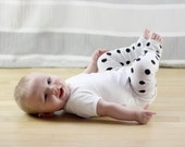 White with Black Dots Baby Leg Warmers FREE SHIPPING