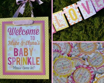 Sprinkle Baby Shower Decorations Fully Assembled Pink Yellow