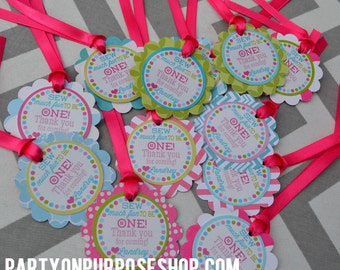 Button Birthday Party Favor Tags Cute as a Button Fully Assembled Decorations