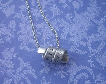 I Wish You Enough - Hand Stamped Twirled Pendant Aluminum Necklace - Antique Silver
