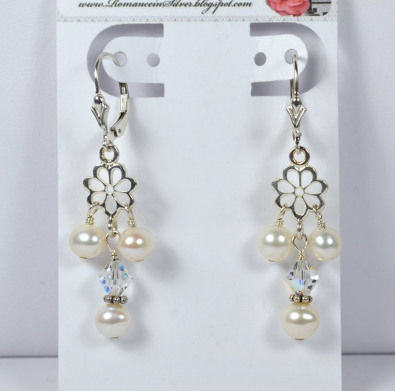 Sterling Silver Bridal Daisy Pearl Earrings, Freshwater White Pearls, Swarovski Clear ab Coated Crystals