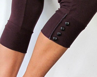 SALE!! Yoga pants with button detailing. Yoga leggings - yoga clothes - fitness - dance wear . Burgundy, black, grey. Size SM and  ML