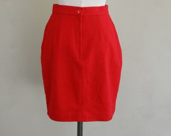 Red Wool Skirt - Circa 1980s - Fully Lined - Pleats and Pockets - School Girl - Working Girl - Many Options - 26 Waist