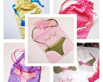 Set Lingerie Bags -4 Custom Bridesmaid/Bride/Bachelorette Gifts