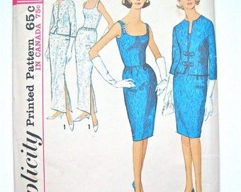 Vintage 1960's Simplicity  5658 Wiggle Dress Pattern  Bust 34 inches