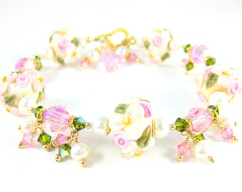 Pink Ivory Floral Bracelet, Lampwork Bracelet, Nature Inspired Jewelry Flower Bracelet Garden Wedding Gold Filled Pearls Crystals Innocent