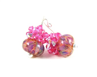 Pink Crystal Earrings, Pink Purple Peach Earrings, Boro Lampwork Earrings, Glass Earrings, Beadwork Earrings, Bright Pink Earrings - Fruity