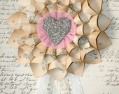 Paper Cone Wreath Vintage French Dictionary Pages w/Genuine German Silver Glass Glitter Heart Center on PInk Crepe paper