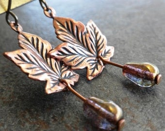 Autumn Leaf Earrings with Niobium Wires